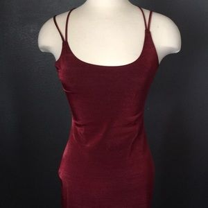 Double slit red 90's evening dress